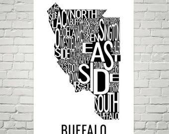 Buffalo Typography Neighborhood Map Art City Print, Buffalo Wall Art, Buffalo Art Poster, Gift, Map of Buffalo, Buffalo NY, Upstate New York