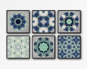 mandela, mendela art, blue mandela, Art set, print set, set of 6, set of 6 prints, 6 prints, wall art set, geometric decor, geometric