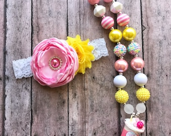 Easter chickadee necklace headband - baby girl easter headband - girl easter chunky necklace -  easter girl gift - spring necklace - spring