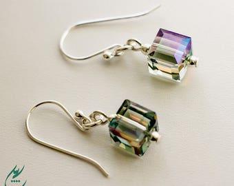 Green Cube Earrings, Green Paradise Shine Swarovski Crystal Cube Earrings, Sterling Silver Earrings, Dainty Earrings, Short Small Earrings