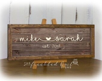 Connected Names Sign, First Names Wood Sign, Connecting Heart Names, Rustic Farmhouse Decor, Established Date Sign, Canvas Wood Sign Frame