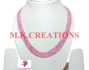 30% Off, Coated Pink Crystal Beads 3 Strand Necklace, Multistrand Necklace, Beaded Layered Necklace, Statement Necklace, Christmas Gift