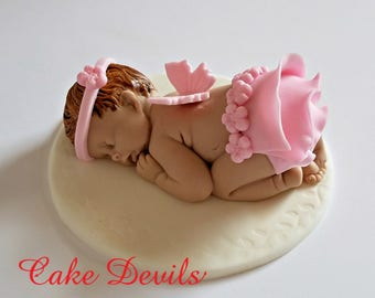 Whale Baby Shower Fondant Sleeping Baby Cake Topper Nautical