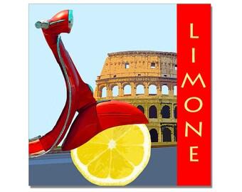 Pop art, Italian lemon scooter print