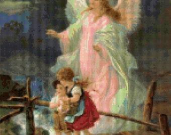 Vintage Guardian Angel Cross Stitch pattern PDF - Instant Download!