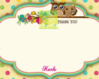 Twins Baby Owls Thank You Card - Twins Owls Thank You Card - Owls Note Card - Owls Note Card