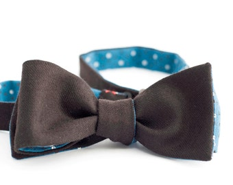 Brown chocolate solid wool & blue foulard cotton bow tie - double sided