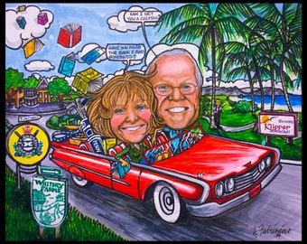 Retirement gift, Custom caricature, car caricature, golf caricature, portrait caricature, cartoon caricature, retirement caricature, wedding