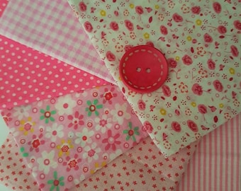 pink fat quarters/7 fat quarter bundle /cotton/ pink/white/ floral//polka dot/check/stripe/light weight/craft fabric/doll's /craft