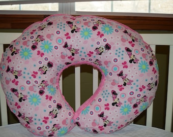 Boppy Pillow Cover m/w Pink Minnie Mouse Cotton & Hot Pink Dimple Dot Fleece Fabric