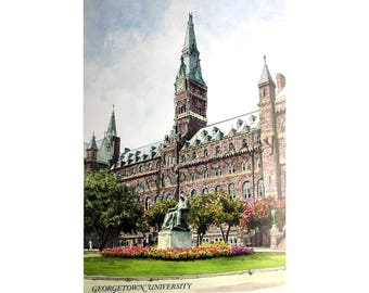 Georgetown University LIMITED EDITION Pen and Ink and Watercolor Art Print Illustration by John Stoeckley