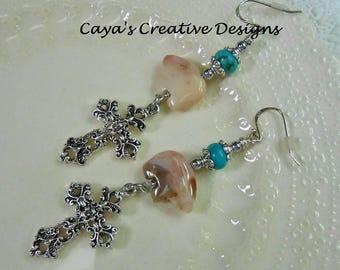 Cowgirl Western Earrings - Bear Fetish Earrings - Cross Earrings - Dangle Drop Earrings - Silver and Howlite Turquoise - BEAR FETISH DROPS