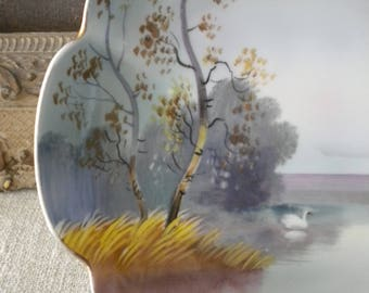 Noritake Bone China Dish • 1930s Vintage Porcelain Hand Painted Handled Plate • Serene Lake Willows Swans • Trinkets Nuts Candy Bowl