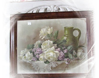 Gorgeous Vintage White Rose Print In Old Frame