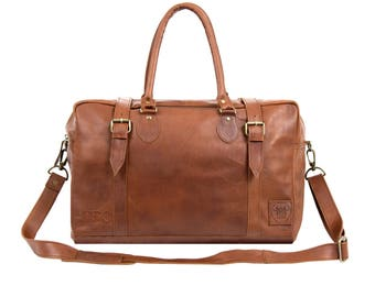 Vintage Brown Leather Holdall - Leather Doctor Bag in Vintage Brown by MAHI Leather