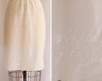 1960s Half Slip | Barbizon Petti Belle  | Vintage 60s Lingerie White Ivory Acetate Petticoat Floral Embroidery Scallop Hem Size XS