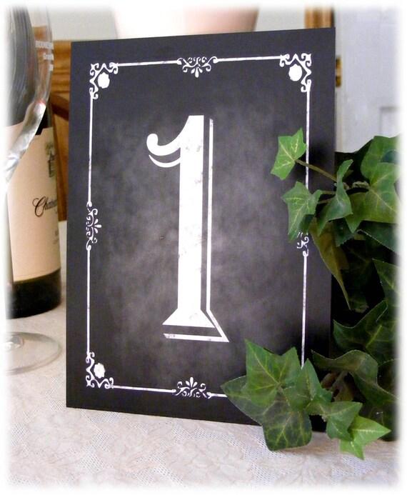 PRINTED Rustic Chalkboard Style Table Numbers - SET OF 10