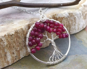 Ruby Tree of Life Pendant Necklace with Sterling Silver Chain,Genuine Ruby Tree of Life Pendant,July Birthstone Necklace