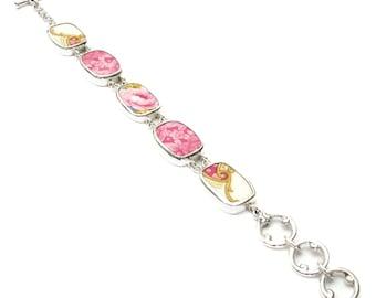 Broken China Jewelry Lady Carlyle Pink Rose & Scrolls Sterling Silver Bracelet