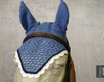 Horse Fly Bonnet in Blue, Navy and White | Size Full | 2018 Collection