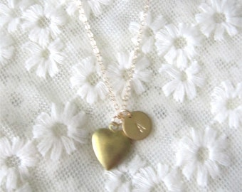 Little heart locket with personalized brass disc, darling, gift for her