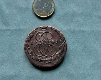 Antique Old coin 5 kopecks 1781 Vintage Copper Catherine II-Russia