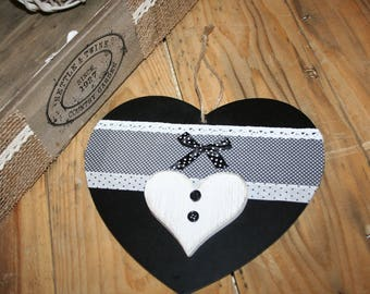 heart hanger, black and white lace and polka dots