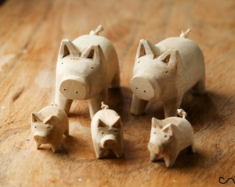 Set of 5 Handcarved Natural Wooden Pigs Family Large Little Decorative Craft Gift