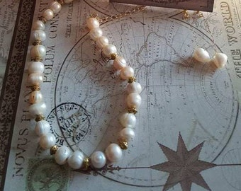 Real Pearl Necklace and Earring set