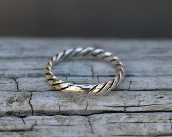 Twist Ring, Rope Ring, Rings, Stackable Rings for Women, Sterling Silver Ring, Silver Ring, Silver Jewellery, Midi Ring, Silver, JR0012