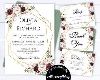 Floral Geometric Wedding Invitation Geometric Wedding Invite Printable Wedding Invitation Template Floral Wedding Invite