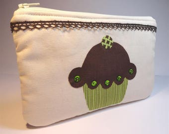 Pocket flat unbleached cotton canvas with applique cupcake Brown and green