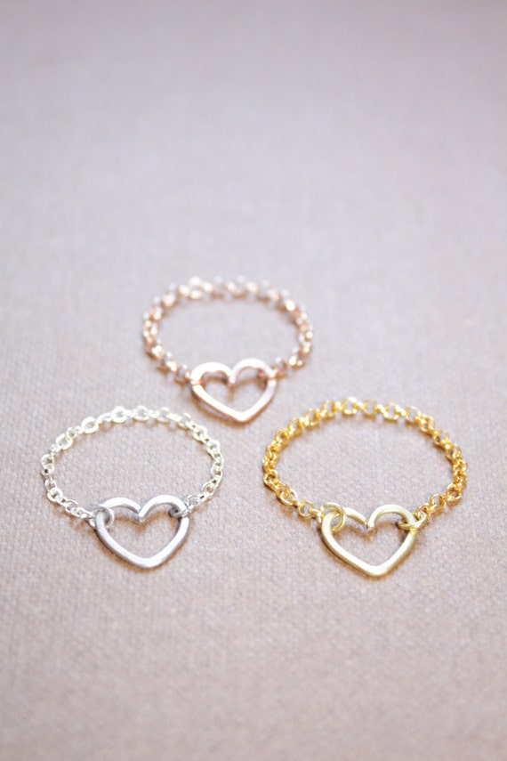 Heart Chain Ring Tiny Heart Ring Sterling Silver 22k Gold 22k