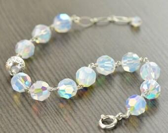 Opal bracelet for October Birthstone bracelet Swarovski crystal bracelet gifts for her