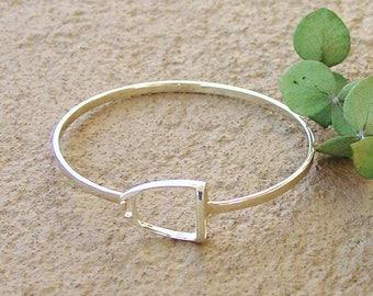 Equestrian Stirrup Bangle Bracelet Sterling Silver,Horse Stirrup Jewelry,Equestrian Jewelry