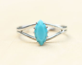 Blue Marquise Ring, Silver Ring, Turquoise Stone Ring, Marquise Shape Ring, Oval Ring, Blue Ring, Turquoise Ring, Adjustable Silver Ring