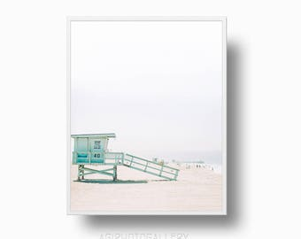 Lifeguard Tower Tropical Beach Print, Coastal Print, Tropical Beach, California Lifeguard Tower, Printable Download