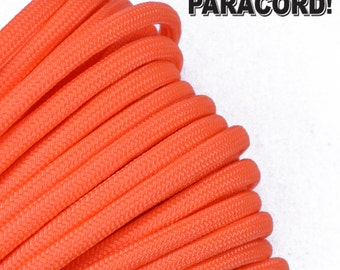 Neon Orange - 100 Feet - 550 Paracord for Paracord Crafts - Made in the United States