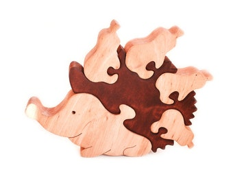 Wood Puzzles Hedgehog. Wooden toys, wooden animal puzzle, eco-friendly handmade toys for babies, children, kids, boys and girls