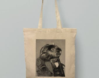 Guinea Pig Tote Bag Cute Piggy Holdall Cotton Downton Vintage Design Animal Photo In Suit Funny Bags Art