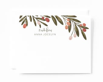 Personalized Stationery Flat Card Set of 12   Floral Personalized Cards with Hand Lettered Calligraphy : Berry Grove Custom Stationery Set