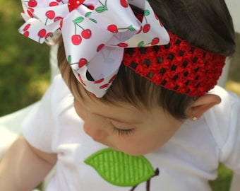 Cherry bow, Cherry Hairbow, Double Stacked hairbow with optional headband -- Pretty Please -- Darling Little Bow Shop