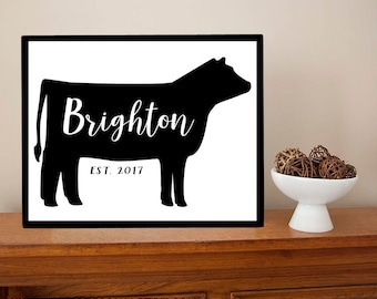 LARGE Personalized Steer Family Last Name Sign - Beef Cattle Cow Ranch Farm Farmhouse Metal Sign Wall Art Print