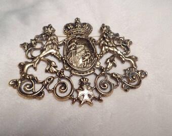 1980's Large Heraldic Crest Brooch