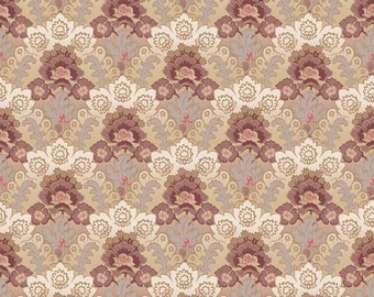 Romancing The Past Riley Blake Fabric Floral Damask Vintage Motif in Mahogany Taupe Beige Brown