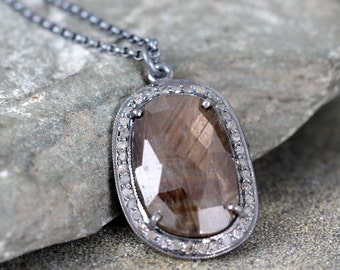 Chocolate Brown Sapphire and Raw Diamond Necklace - Sterling Silver - Halo Pendant - Rustic Jewellery - September Birthstone - Fall Color