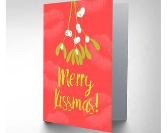 Mistletoe Christmas Card / Merry Kissmas - CP3109