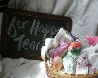 Vintage Happy Tears Collection of 21 Hankies for Wedding or Shower Favors