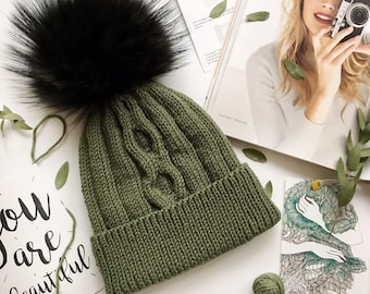 Khaki knit hat Christmas gift for Women knitted hat Winter hat Fur pompom hat Wool knit beanie Fur pom pom hat Anniversary gift for her