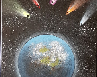Meteorites. Planet. Spray paint
